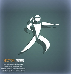 Karate kick icon on the blue-green abstract vector