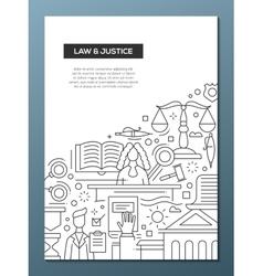 Law and justice - line design brochure poster vector