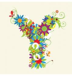 letter Y floral design vector image vector image