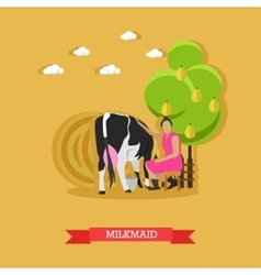 Milkmaid milking a cow design vector