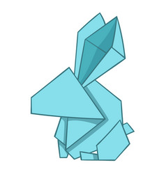 Origami rabbit icon cartoon style vector