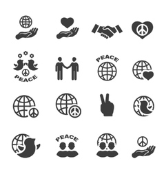 Peace icons set symbols vector