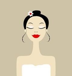 Pretty woman in spa salon vector image