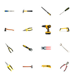 realistic electric screwdriver claw tongs and vector image vector image