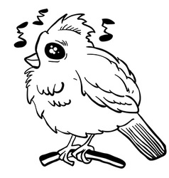 simple black and white funny looking bird vector image