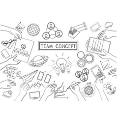 Team concept line design vector