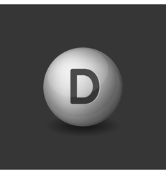 Vitamin d silver glossy sphere icon on dark vector