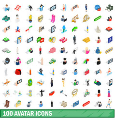 100 avatar icons set isometric 3d style vector image