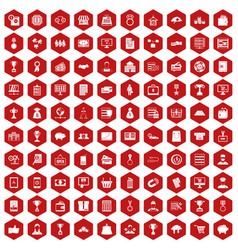 100 business icons hexagon red vector