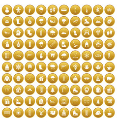100 winter icons set gold vector