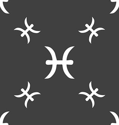 Pisces zodiac sign sign seamless pattern on a gray vector