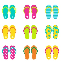 Summer flip flops set isolated on white vector