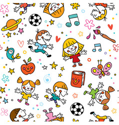 Playful happy kids fun seamless pattern vector