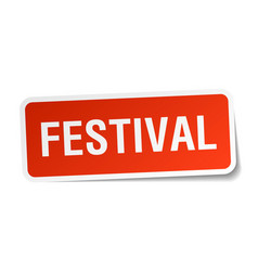 Festival square sticker on white vector