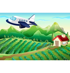 An airplane above the farm vector