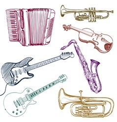 set of instruments vector image