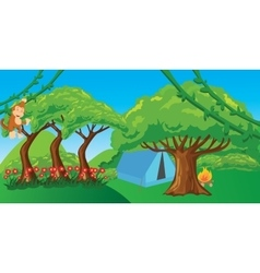 Monkey in jungle cartoon forest ape vector