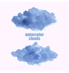 Watercolor cloud blue clouds isolated on white vector