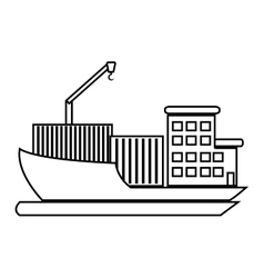 Cargo ship with containers graphic vector