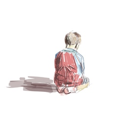 Boy sitting in the mosque vector