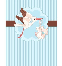 a place card of a stork delivering a newborn baby vector image vector image