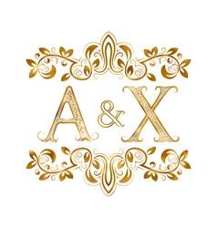 Ax vintage initials logo symbol letters a x vector