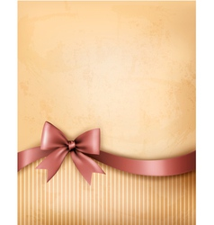 Background with old paper with gift bow and ribbon vector image vector image