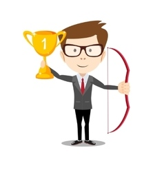 business man proudly standing holding up winning vector image vector image