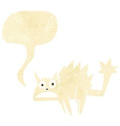 Cartoon frightened cat with speech bubble vector