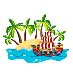 Children and pirate on viking ship vector