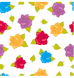 color roses with green leaves seamless pattern vector image vector image