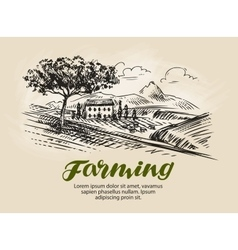 Farm sketch agriculture rural landscape farming vector