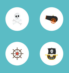 flat icons ship steering wheel vessel cranium vector image