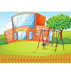 Girl and a school in beautiful nature vector image vector image