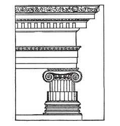 Greek ionic order pillar vintage engraving vector