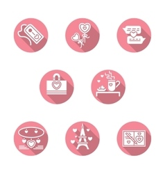 Happy Valentines Day round pink icons vector image