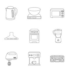 Household appliances set icons in outline style vector