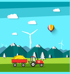 landscape field with tractor and wind mill with vector image