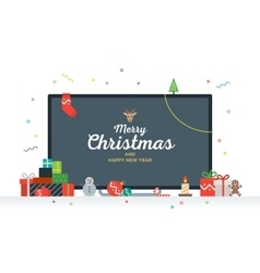 Large tv with congratulatory text merry christmas vector