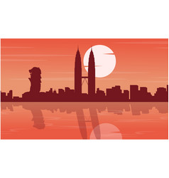 Malaysia and singapore city tour scenery vector