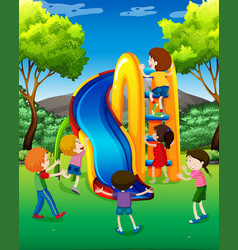 many kids playing slide in the park vector image vector image