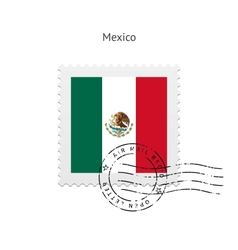 Mexico flag postage stamp vector