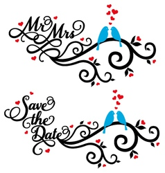 Mr and Mrs save the date wedding birds vector image vector image