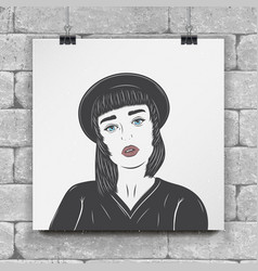 mulatto girl in a black hat fashion show flat vector image vector image