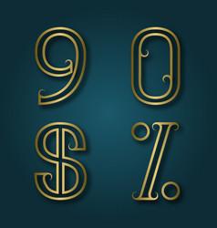 Nine zero shiny golden numbers dollar and vector