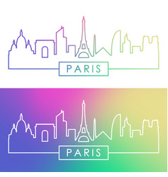 paris skyline colorful linear style vector image