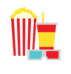 Popcorn box cola and 3d glasses vector