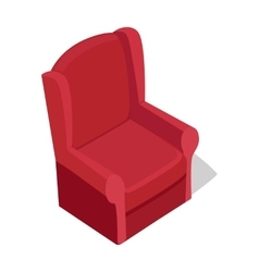 Red armchair in isometric projection vector