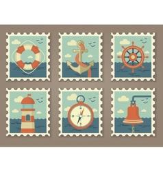 retro marine stamps vector image