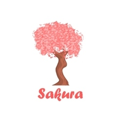 Sakura cartoon style icon vector